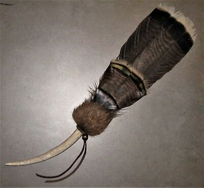 Native American Inspired Smudge Fan Feather Antler Prayer Offering Ceremonial