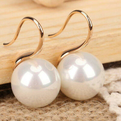 Huge 10mm Natural White South Sea Shell Pearl 14K Gold Plated Dangle Earrings