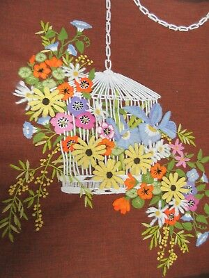 Finished Crewel Embroidery Wicker Garden Floral Bird Cage Paragon 1978 Completed