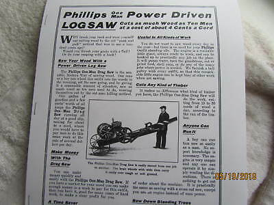 1919  Phillips one Man Drag Saw Gas Engine  Info Catalog