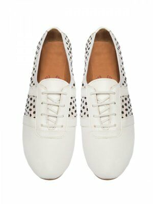 Rollbab Bendis White Womens Foldable White Lace Up Flat Pump Shoes Size 8 + Bag