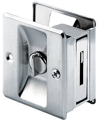 PRIME LINE PRODUCTS Solid-Brass Pocket Door Lock & Pull 164159