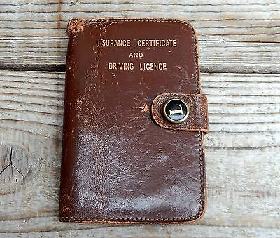 Vintage Real Leather Car Driving Licence Insurance Certificate Wallet - Brown