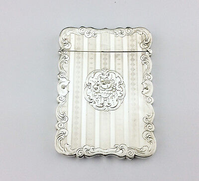 Victorian  Bright Cut Solid Sterling Silver Card Case 1853