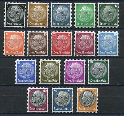 GERMANY 3rd REICH 1933 HINDENBURG SET SCOTT 414-431 PERFECT MNH