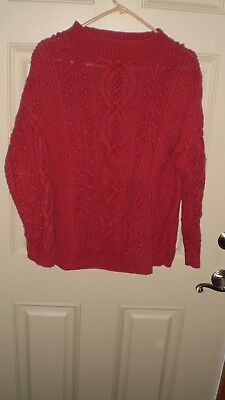 Vintage Women's Express Hand-knitted RED Ramie/Cotton Cable-knit Sweater - Sz M