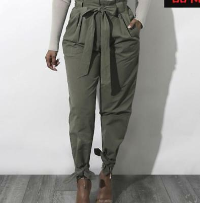 Women Pencil Pants Casual Trousers Lace Up Bow-knot High Waist Long Cotton Zsell
