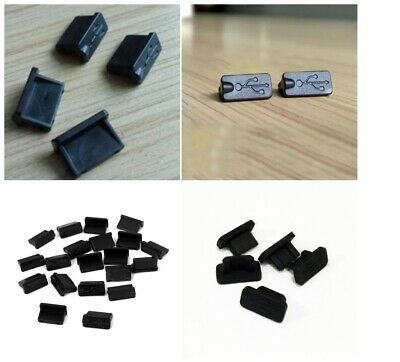 10pcs Black Rubber A Type Female USB Anti Dust Protector Plugs Stopper Cover ES