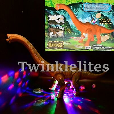 Big Walking Dinosaur Brachiosaurus Egg Laying Toy Light Up Sounds LED Long Neck