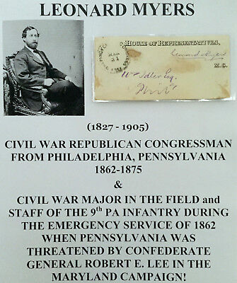 CIVIL WAR MAJOR 9th PENNSYLVANIA INFANTRY CONGRESSMAN FREE FRANKAUTOGRAPH SIGNED