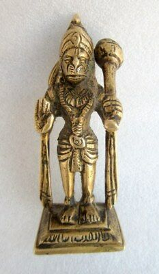 Vintage Old Rare Brass Hand Crafted Hindu God Hanuman Bala ji With Mace Statue