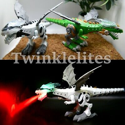 Fire Breathing Dragon Dinosaur Wings Kids Robot Toy Light Up Sounds LED