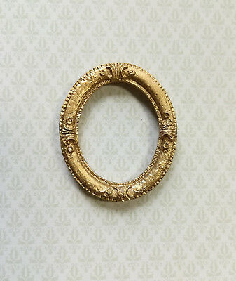 MINIATURE DOLLHOUSE 1:12 SCALE SMALL OVAL GOLD FRAME A3551