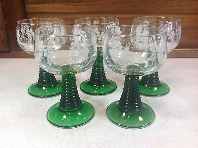 Luminarc 5 Roemer Cordial Wine Glasses Green Ribbed Stem Etched Grapes Leaves