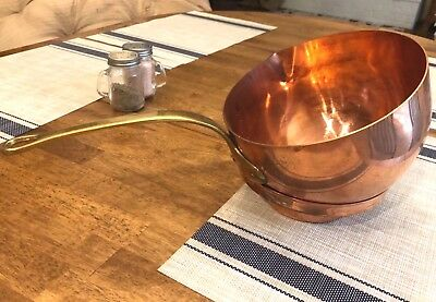 "Vintage Solid Copper ZABAGLIONE POT Brass Handle Mixing Beating Bowl 8""x5"""