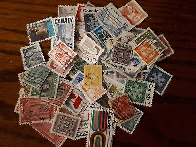 Lot of 100 Used Canada Stamps - No Duplicates