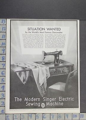 1929 Household Sewing Machine Singer Electric Thread Clothes Vintage Ad Dr66
