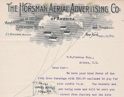 RARE Letterhead E I Horsman Aerial Sky Advertising with Scientific Kites NY 1904