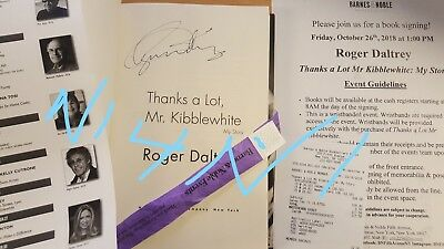 Roger Daltrey Signed Thanks A Lot Mr. Kibblewhite Book My Story Who 10/26 Nyc