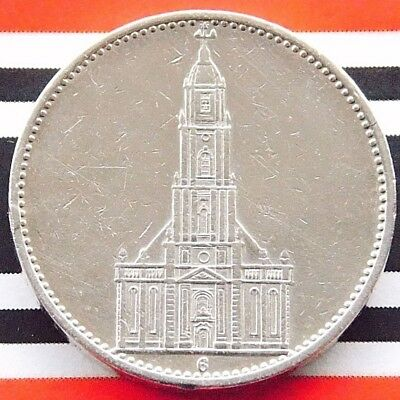 GERMAN Coin 1934 G 5 MARK Reichsmark POTSDAM Garrison CHURCH Silver 3RD WW2 RARE