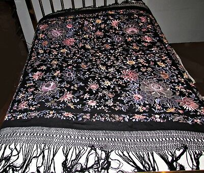 antique vintage embroidered silk canton piano shawl unusual flowers fringe