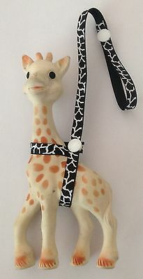 Toy Saver Strap for sophie the giraffe/fan fawn. *thin* WHITE/BLACK COW PRINT