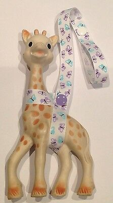 Toy Saver Strap for sophie the giraffe/fan & other toys. Purple/White Butterfly