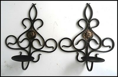 Pair Of Sun Face Black Scroll Wrought Iron Pillar Candle Holders Wall Sconce