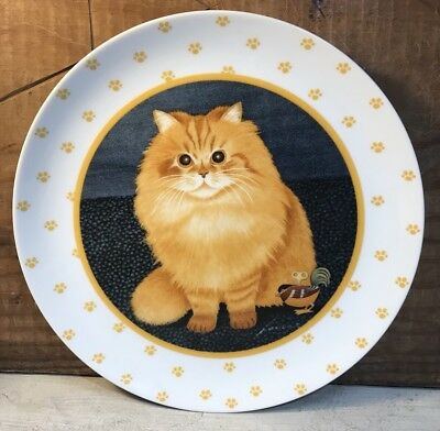 1989 Lowell Herrero Collector Plate Orange Tabby Kitty Cat Plate Paw Print Rim
