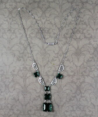 Vintage Art Deco 1920s to 1930s Emerald Green Silver Filigree Linked Necklace