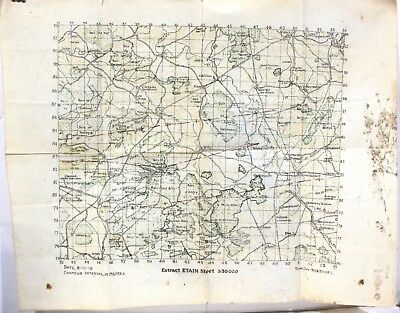 304 Engineers Topographic Map of Section of France during WW1 8/11/1918