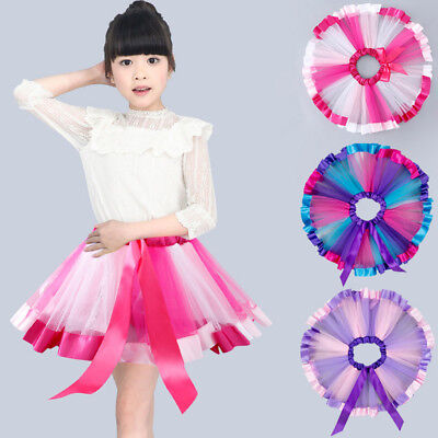 20e0ca677d28 GIRLS TUTU SKIRT Petticoat White Black Dress Kids Ballet Princess ...