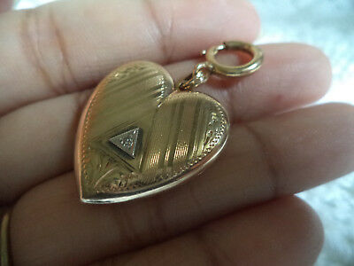 Antique Victorian 10K Solid Gold Diamond Locket w/ 10K Gold Large Spring Clasp