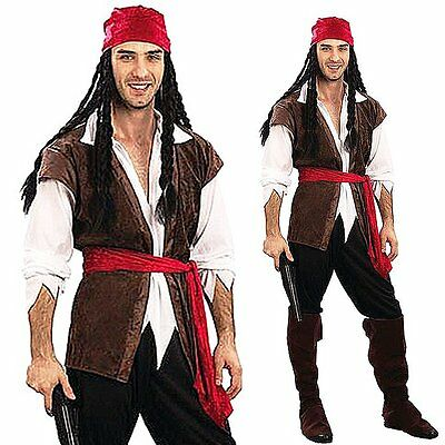 Mens Adult Carribbean Pirate Man Halloween Buccaneer Fancy Dress Costume Cosplay