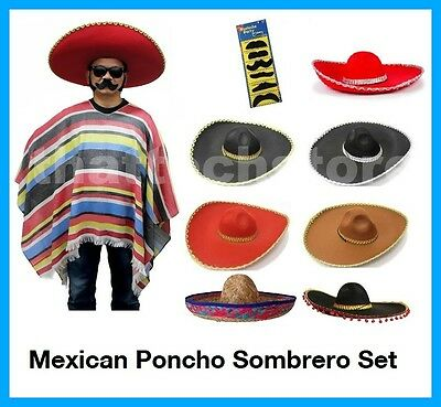 Mexican Poncho & Sombrero Fiesta Set Bandit Wild West Cowboys Indian Blanket