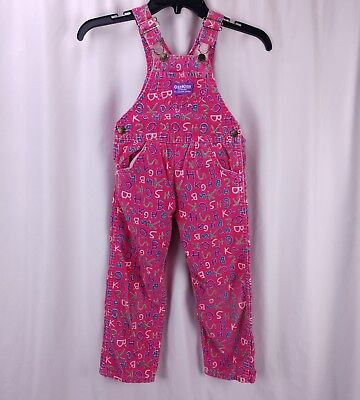 Vtg Oshkosh Bgosh Overalls Girls 5 Pink Needlecord Letters Vestbak USA Made
