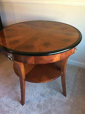 Two Biedermeier Style Night Stands Round End Tables CENTURY Capuan HTF 2 Tier