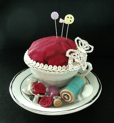 Unique handmade pin cushion pin keep sewing gift OOAK white red mini tea cup
