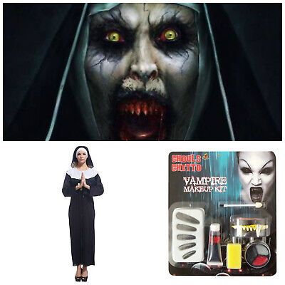 Halloween The Nun Valak Sister Conjuring Annabelle Horror Costume & Make Up Set
