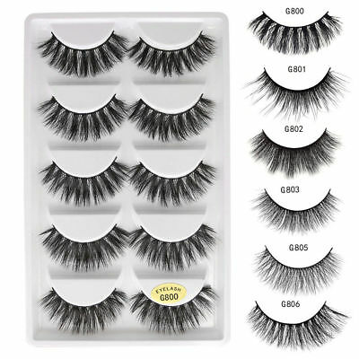 3D Mink Natural Thick False Fake Eyelashes Hand Made Lashes Extension 5 Pairs