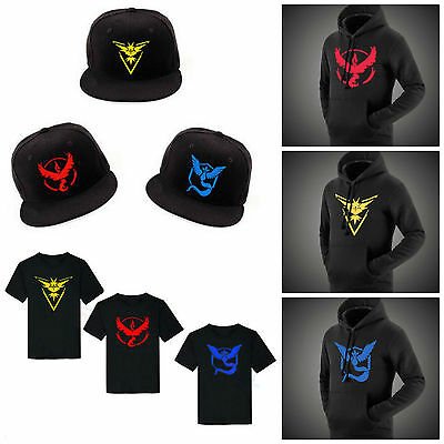 Pokemon GO Team Mystic Valor Instinct Hoodie Jumper T-Shirt Baseball Cap Hat Set
