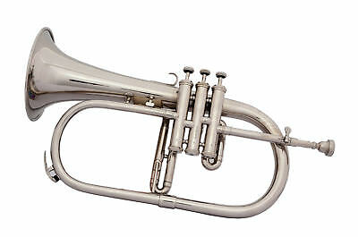 Flugel Horn Buy New 3 Valve Chrome Bb-F Pitch'w/case+Mp Queen Brass