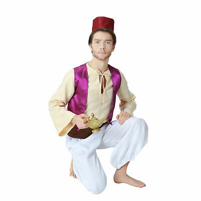 Cartoon Animation Aladdin Prince Costume Mens Cosplay Disney Fancy Dress Party