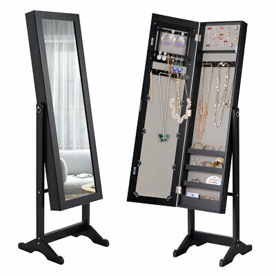 Jewelry Mirrored Cabinet Armoire Organizer Storage Box w/ Stand Christmas Gift