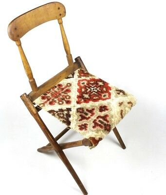 Original Civil War Era Officer Folding Camp Chair - Wood Carpet Covered Seat