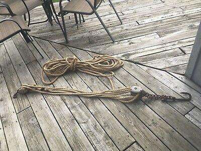 Antique Wood Block And Tackle Pulley.