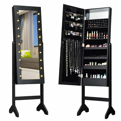 Free Standing Mirrored Jewelry Cabinet Armoire Organizer w/ 18 LED lights Black