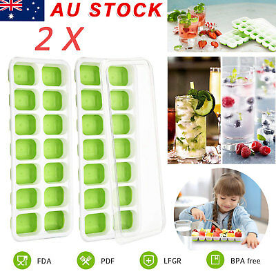 2 X Ice Cube Trays Easy-Release Silicone Flexible 14-Ice Trays Maker Mold