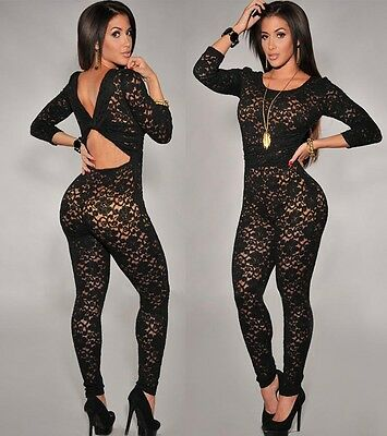 US Long Sleeve Lace Women's Bodycon Jumpsuit Romper Bodysuit Clubwear lingerie