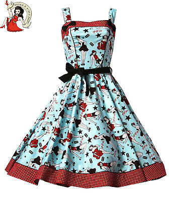 HELL BUNNY vintage DIXIE retro 50's rockabilly DRESS BLUE